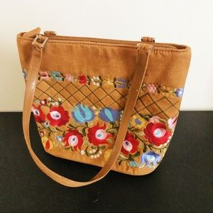Vintage Embroidered Floral Tote Bag Faux Suede